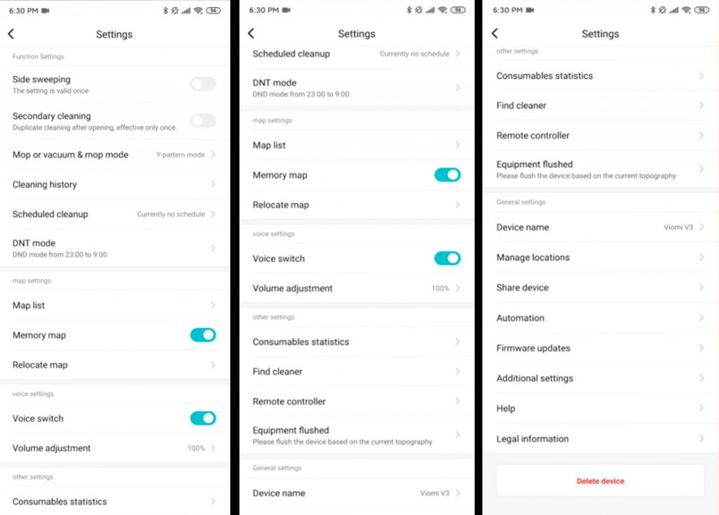 Xiaomi Viomi V3 siurblio roboto programos nustatymai
