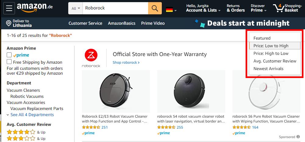 Amazon prekių rūšiavimas pagal kainą